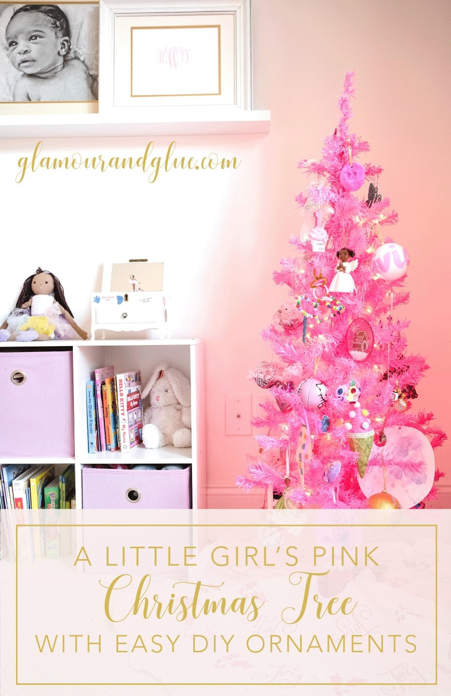 girls bedroom blush decor pink christmas tree 3_pinterest - Blush Christmas Decorations
