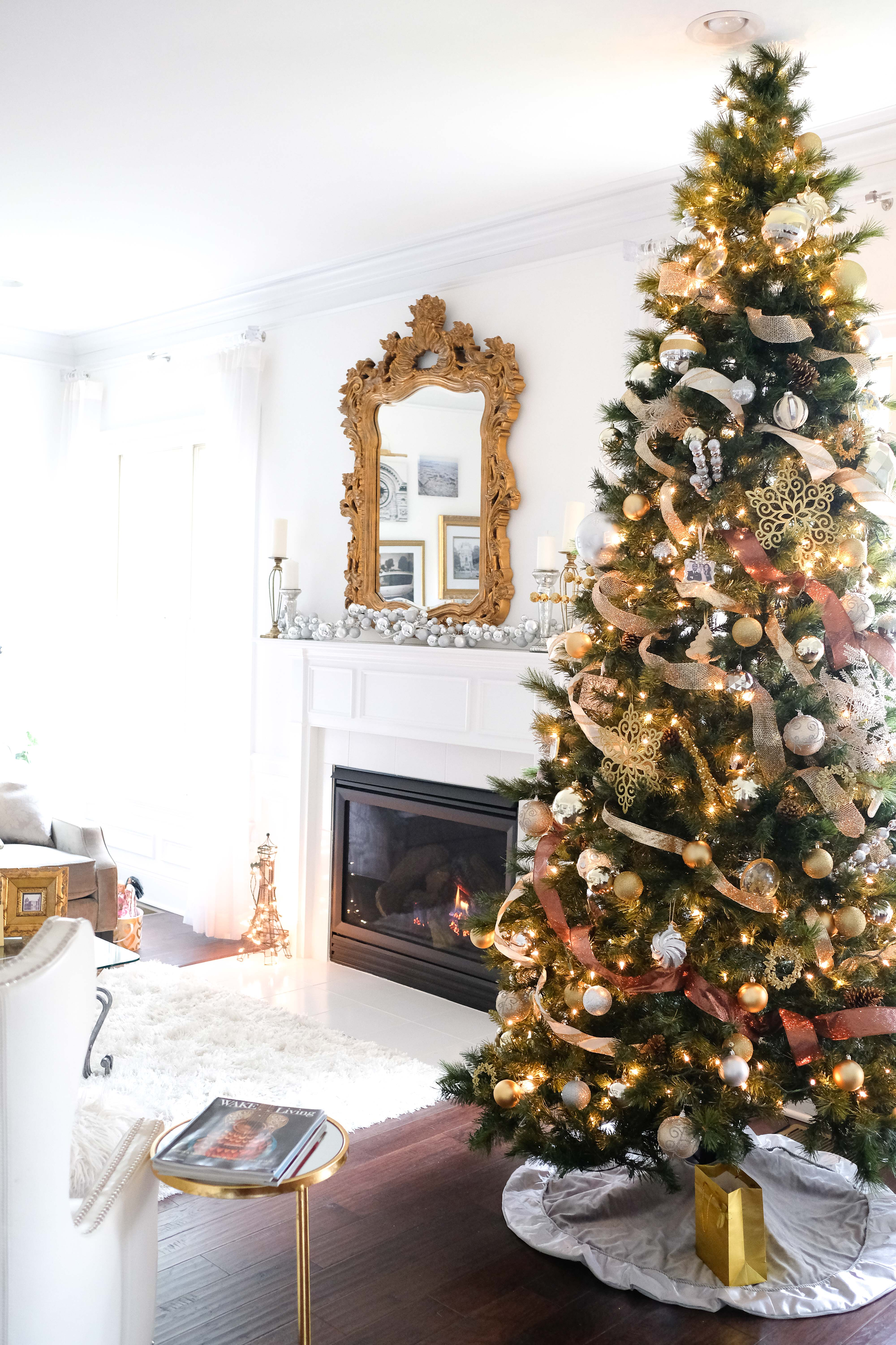 Christmas Tree With Silver Gold Ornaments Glamourandglue