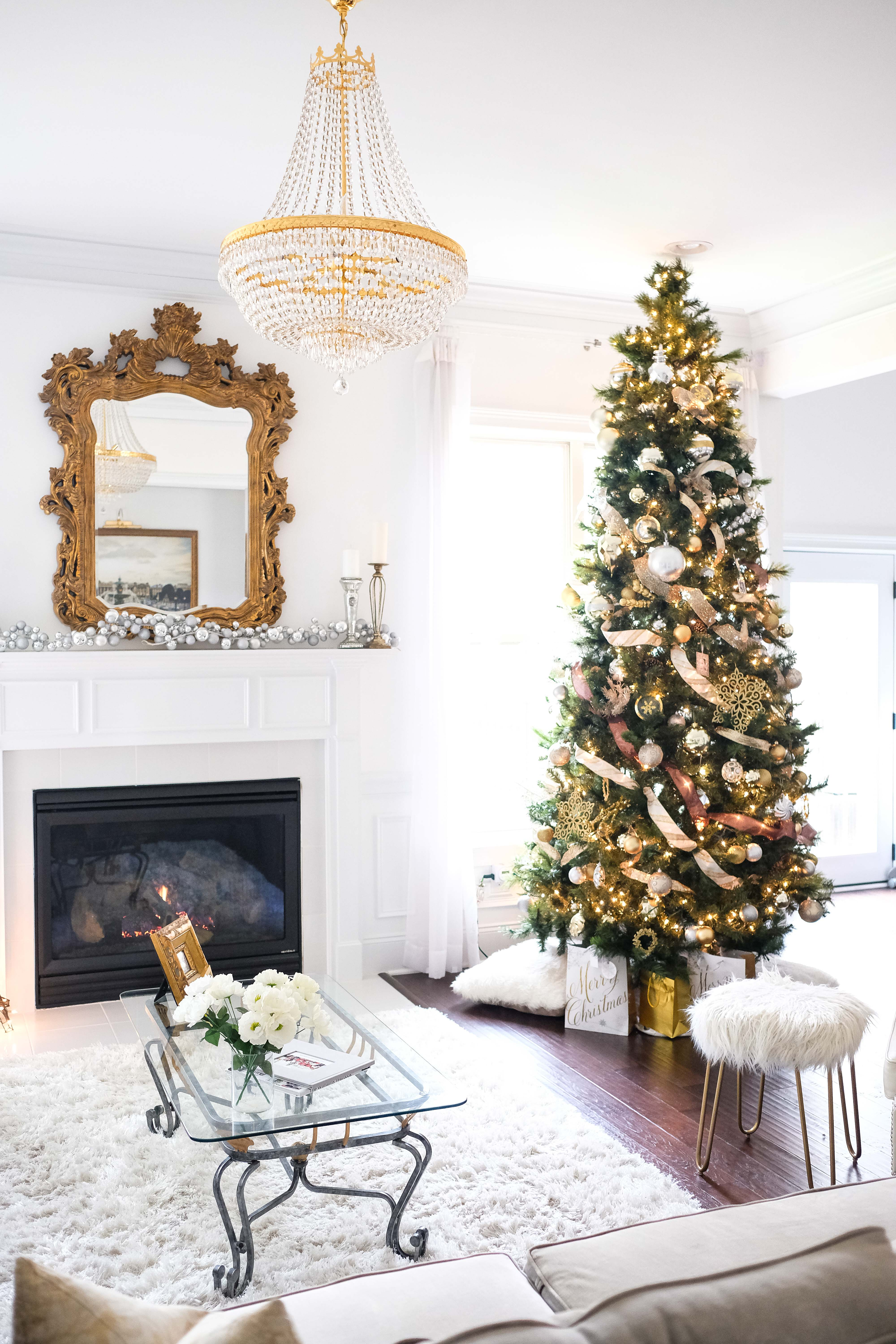 CHRISTMAS TREE WITH SILVER & GOLD ORNAMENTS | GlamourandGlue