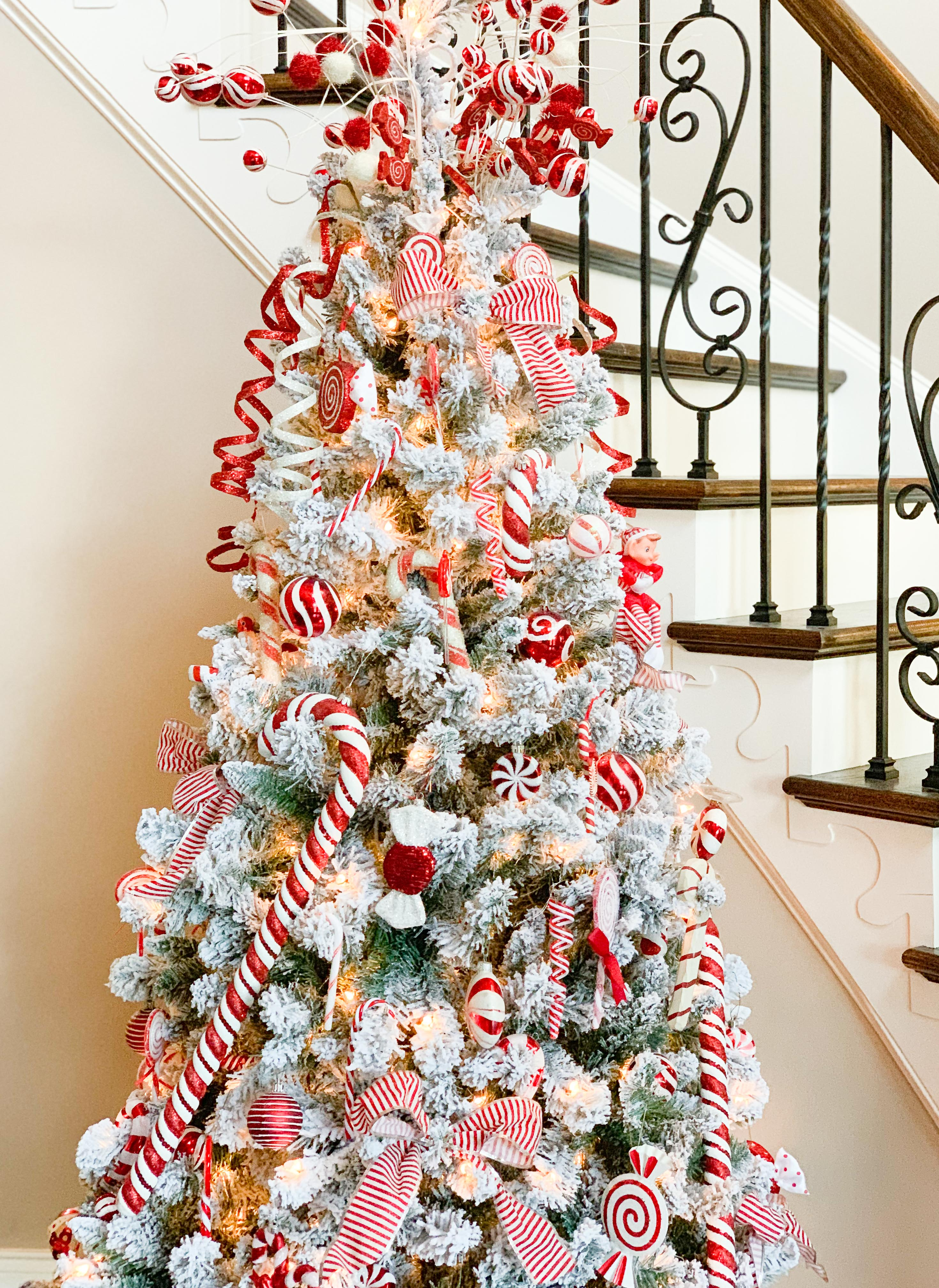 Candy Cane Christmas Tree.The Story Of 32 Beautifully Adorned Christmas Trees